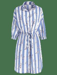 Acero M Aves Vestido Camisa De Rayas Ligero Azul w0aq7X0