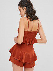 5041d882485b 28% OFF] 2019 Ruffles Crop Cami Top And Shorts Set In CHESTNUT RED ...