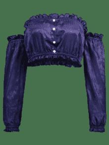 Profundo Manga Volantes De Camiseta Azul Tubo De Larga S Con FSaxOw8q