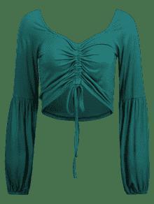 Larga Ajustable Con S Manga 243;n Cord Mar Verde Mediana De Camiseta qEwFnap