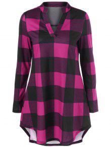 Plaid Split Neck T Shirt