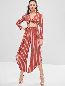 Overlap Stripes Tie Front Jumpsuit - Chestnut Red S