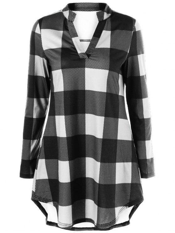 buy Split Neck Long Plaid Boyfriend T-Shirt - WHITE AND BLACK XL