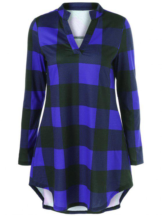 lady Split Neck Long Plaid Boyfriend T-Shirt - BLUE L