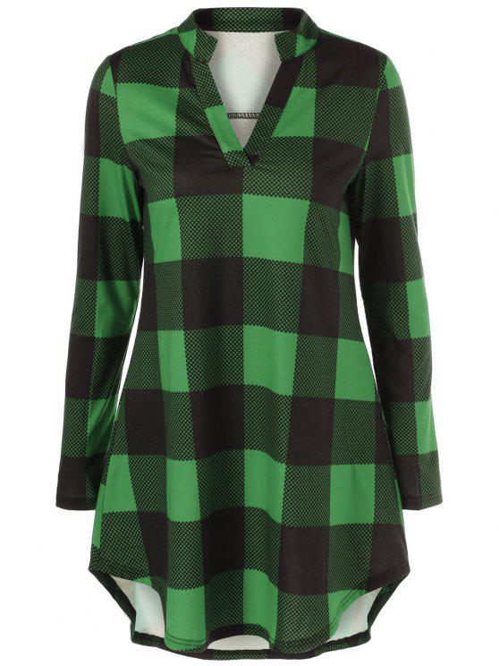sale Split Neck Long Plaid Boyfriend T-Shirt - GREEN 3XL