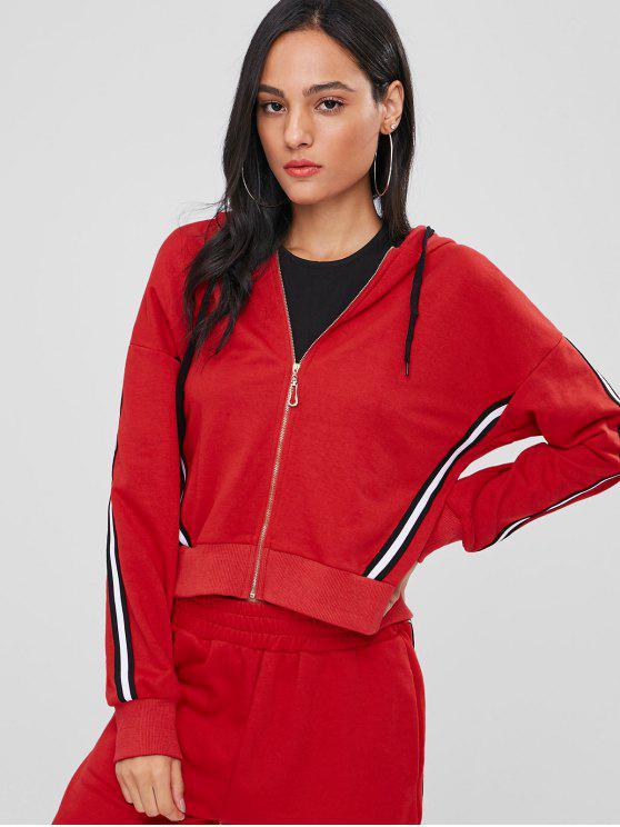 Sweat à capuche zippé à rayures sportives - Rouge Lave S
