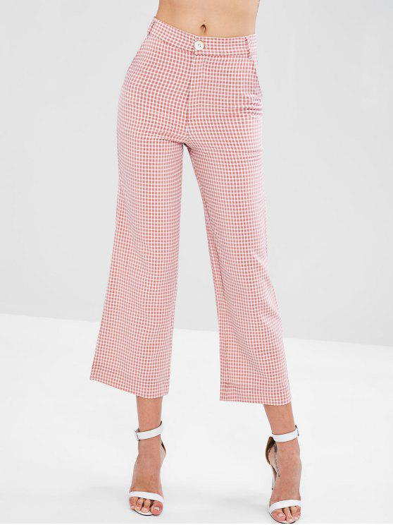 women High Waisted Gingham Wide Leg Pants - PINK L