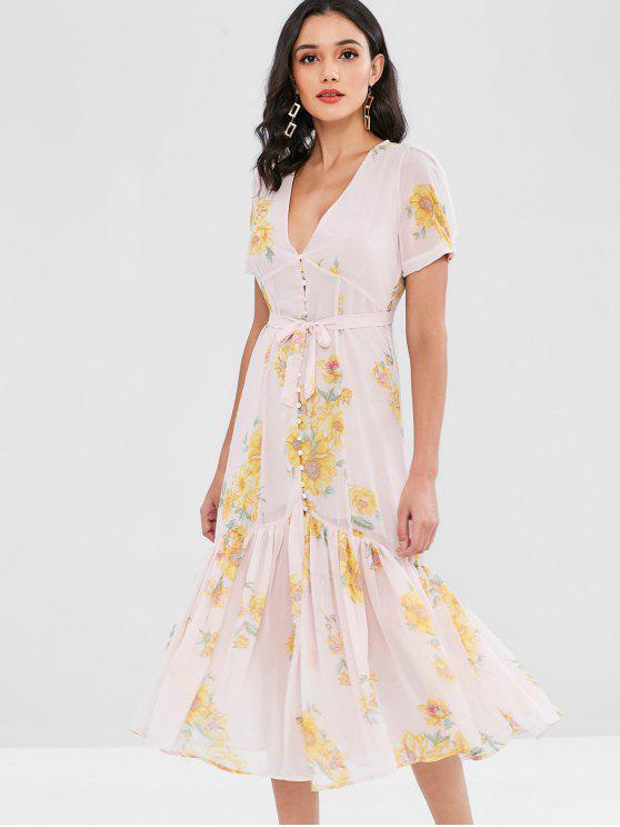 new Floral Covered Button Puff Sleeve Midi Dress - PINK M