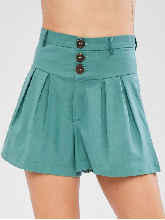 Falte Vorder Hoch Taillierte Shorts - Helles Meergrün S