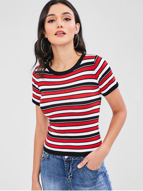 unique Tricolor Striped Knit Tee - MULTI ONE SIZE