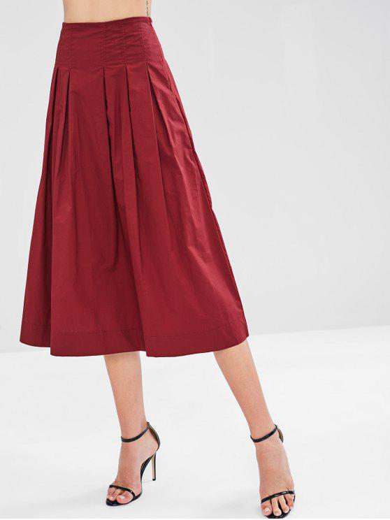 Jupe Mi-Longue Plissée en Tissu de Chemise - Rouge Vineux M