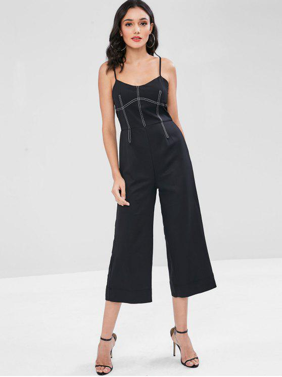 b488f148c3a4 29% OFF  2019 Contrasting Topstitching Wide Leg Cami Jumpsuit In ...