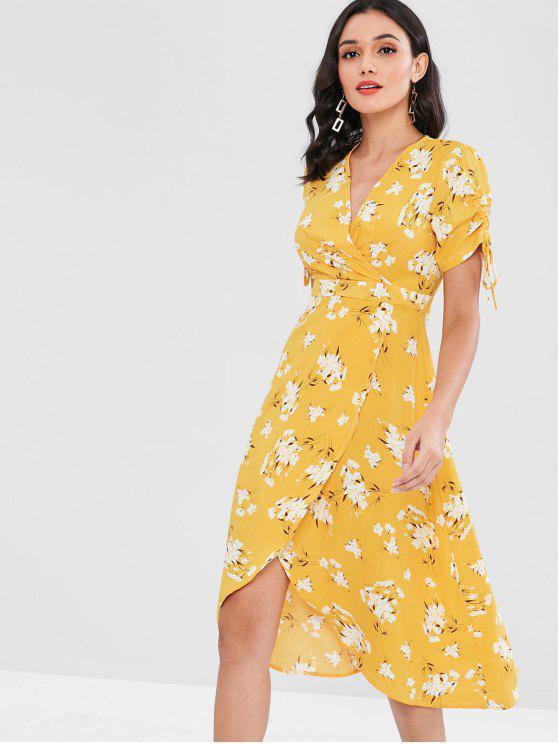 trendy Gathered Sleeve Floral Surplice Midi Dress - YELLOW L