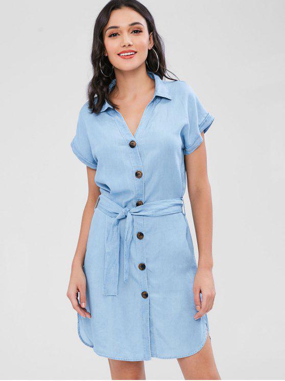 lady Button Through Chambray Shirt Dress - LIGHT BLUE S
