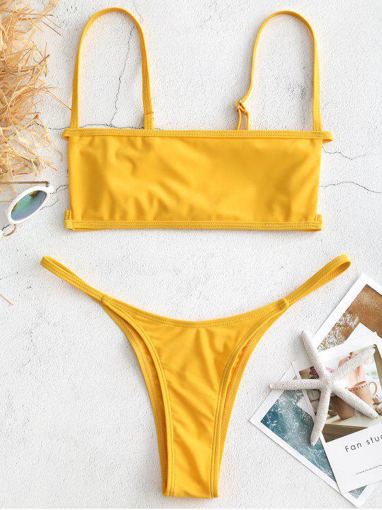lady Bralette Cutout Thong Bikini Set - BRIGHT YELLOW M
