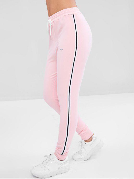 Pantalon de Jogging Rayé à Taille Haute - Rose  M