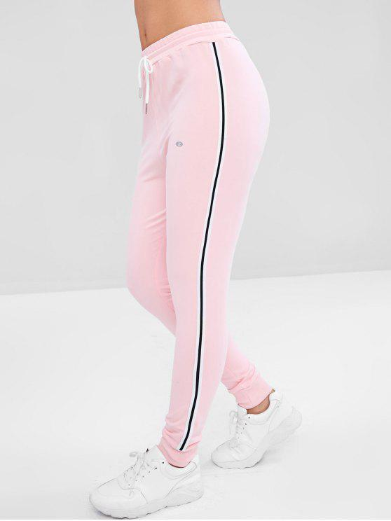 women Striped High Waisted Jogger Pants - PINK L