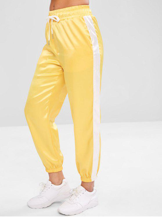 Satin Contrast Jogger Sweat Pants   Yellow M by Zaful