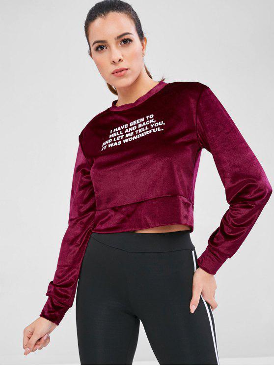 Sweat-shirt Court Lettre Imprimée en Velours - Marron M