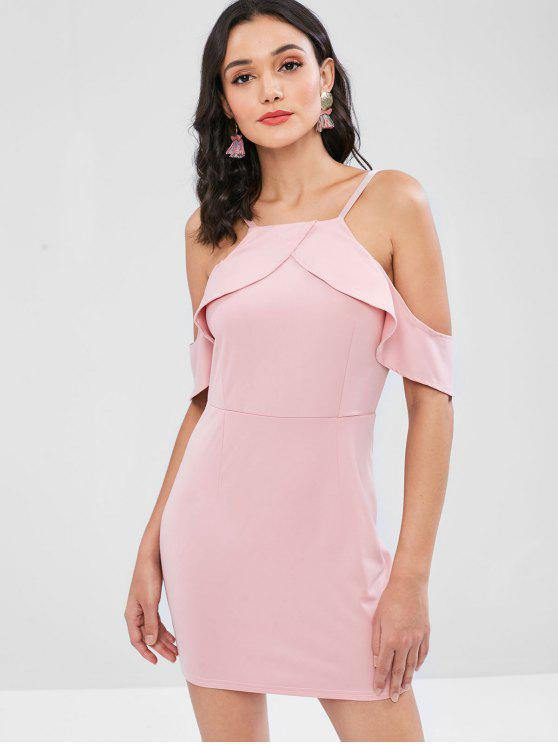 latest Ruffles Cami Fitted Dress - PIG PINK S