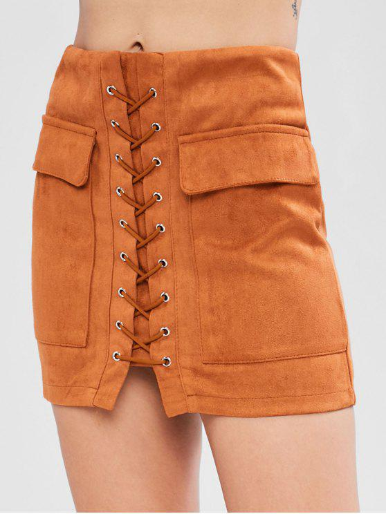 unique Lace Up Faux Suede Skirt - TIGER ORANGE M