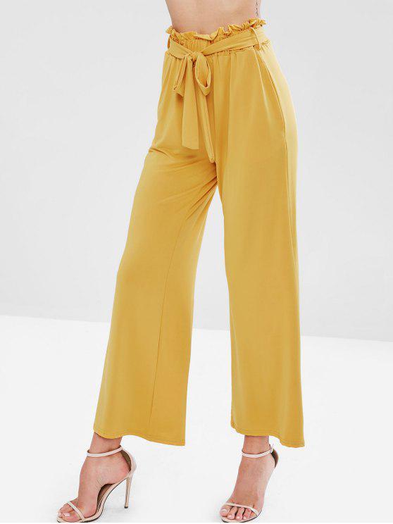 Pantalones de pierna ancha con cinturón - Mostaza M