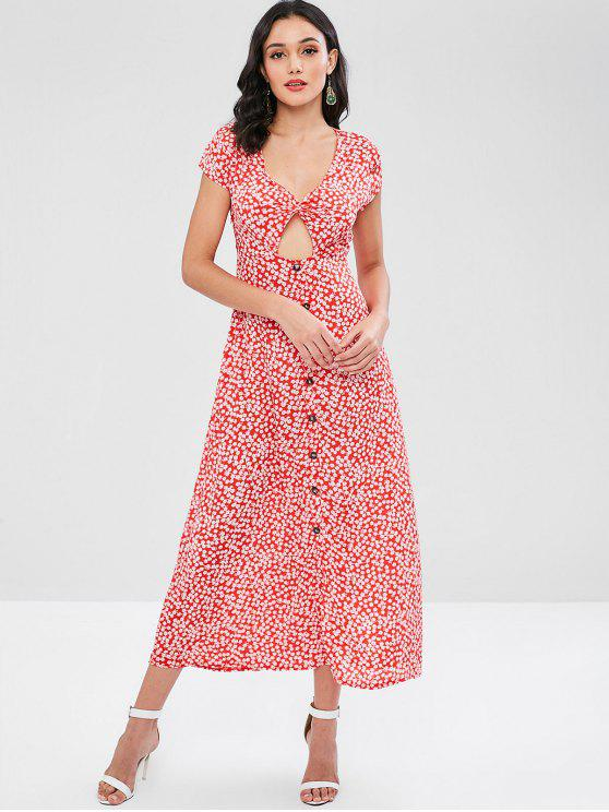 Twist Front Cut Out Floral Imprimir Maxi Vestido - Vermelho M