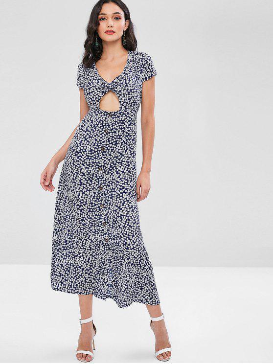latest Twist Front Cut Out Floral Print Maxi Dress - DEEP BLUE XL