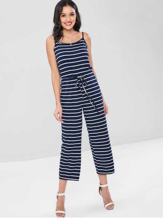 fashion Striped Sleeveless Capris Jumpsuit - DEEP BLUE M