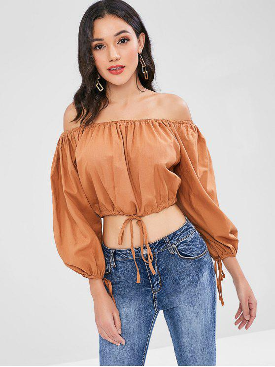 new Drawstring Off The Shoulder Top - LIGHT BROWN ONE SIZE