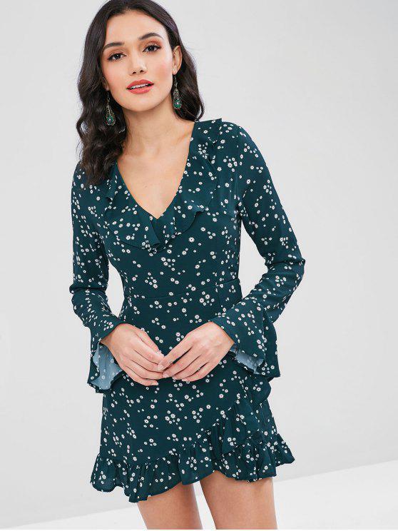 Mini vestido de manga larga con volantes florales - Verde M