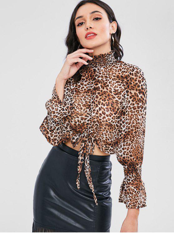 Blusa de gola alta semi Sheer leopardo impressão - Leopardo M