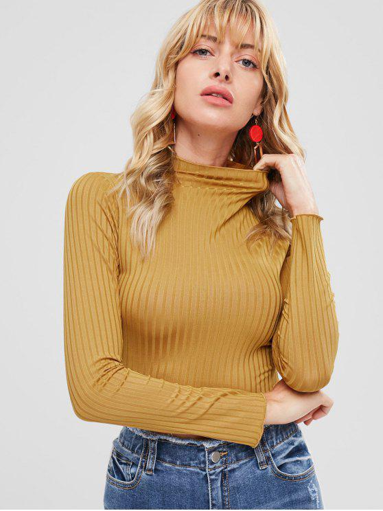 Camiseta acanalada de cuello falso - Marrón Dorado M