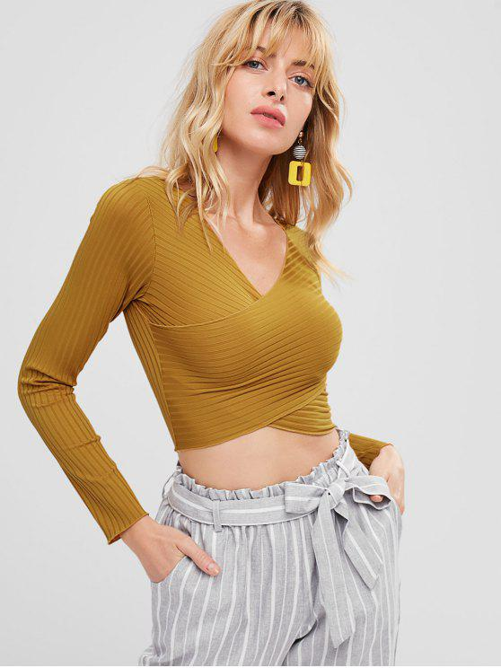 Camiseta de solapa con cuello en V - Marrón Dorado M