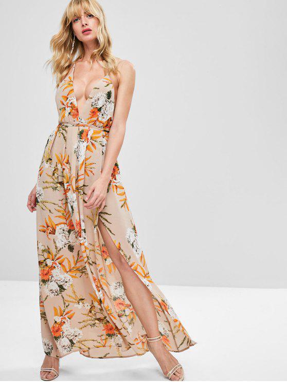 chic Slit Floral Criss Cross Maxi Dress - KHAKI ROSE L