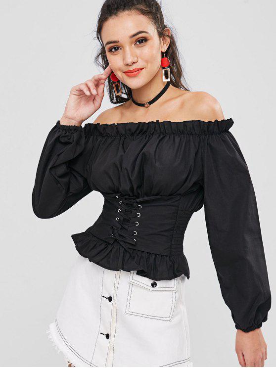 unique Off Shoulder Ruffles Lace Up Blouse - BLACK ONE SIZE