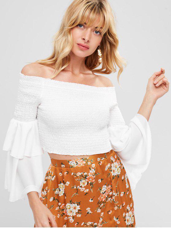 Blusa de flauta com blusa fora do ombro - Branco L