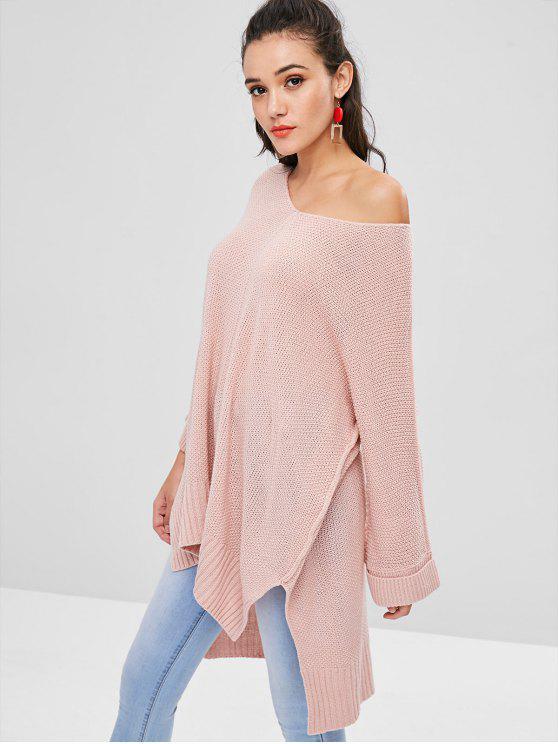 Camisola de Longline Long Low Slit - Rosa de Porco Um Tamanho