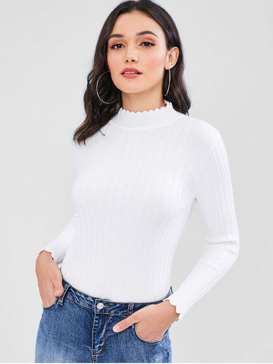 Suéter acanalado acanalado - Blanco Talla única
