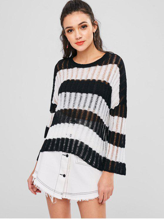 lady Striped Drop Shoulder Openwork Sweater - BLACK ONE SIZE
