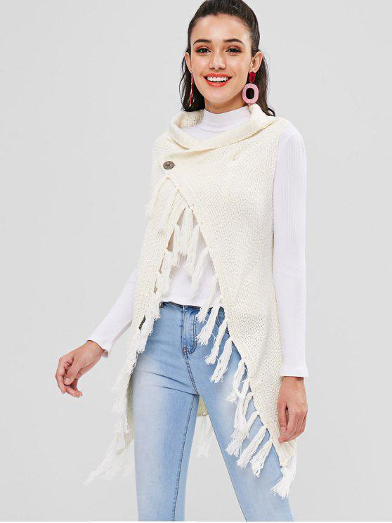 latest Sleeveless Tassel Longline Cardigan - WARM WHITE ONE SIZE