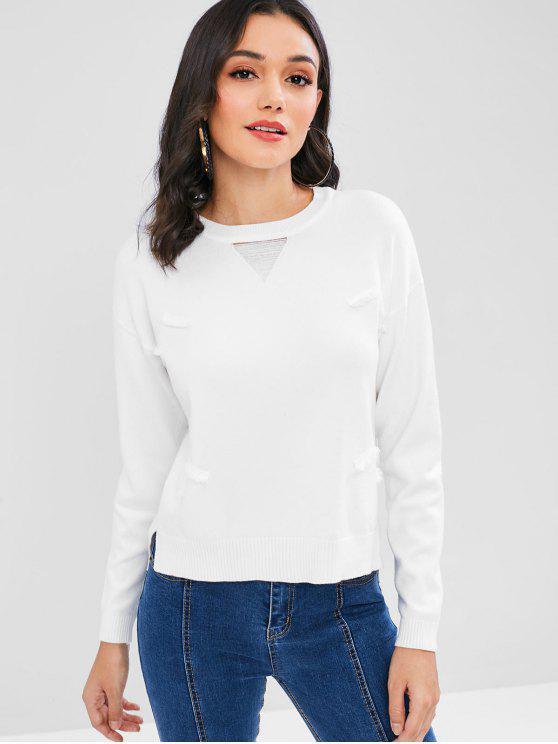 ladies Distressed Crew Neck Sweater - WHITE ONE SIZE