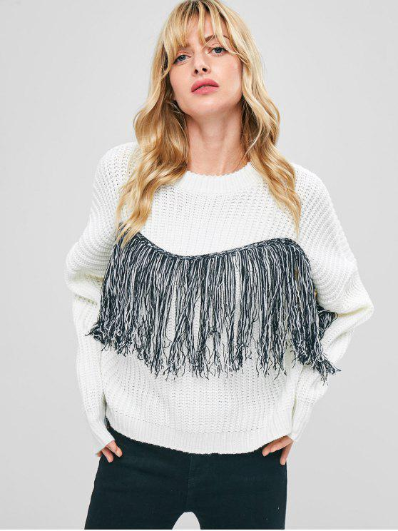 outfit Drop Shoulder Fringed Sweater - WHITE ONE SIZE