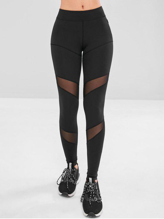 women Mesh Panel Zip Pocket Gym Leggings - BLACK S
