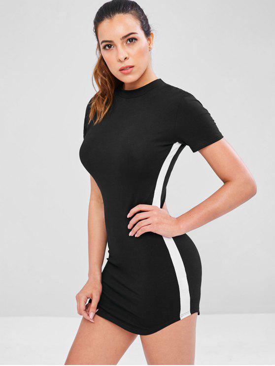 lady Contrast Side Short Athletic Dress - BLACK L