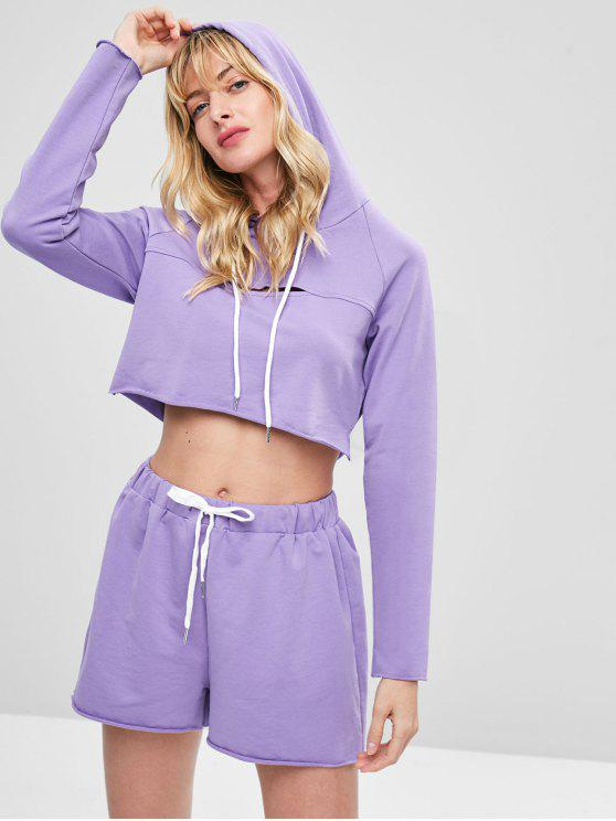 new Cropped Cut Out Hoodie Set - PURPLE L