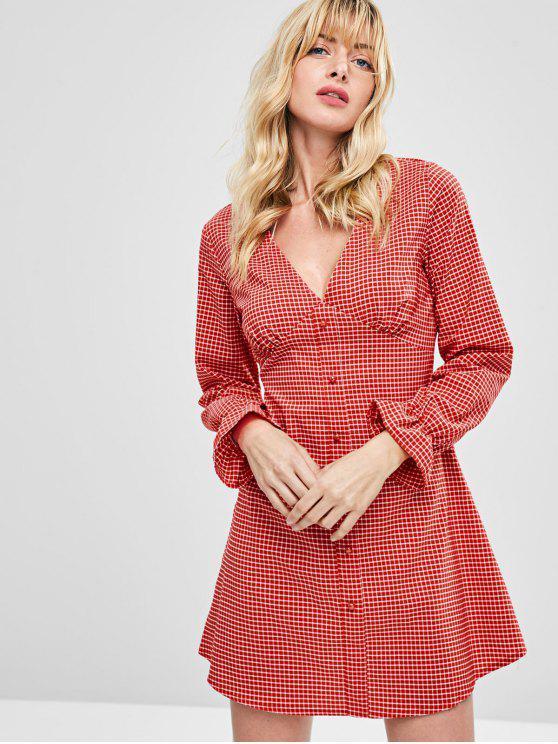 منقوشة زرر فستان طويل الأكمام - الحمم الحمراء S