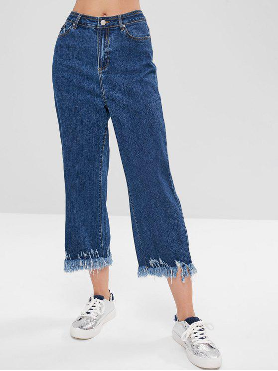 shop Indigo Wash Frayed Mom Jeans - BLUE L