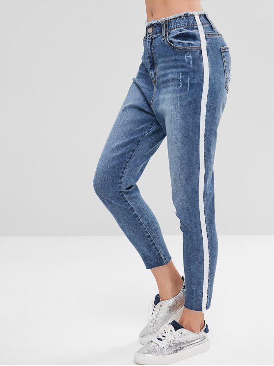 trendy Side Stripe Distressed Mom Jeans - BLUE M