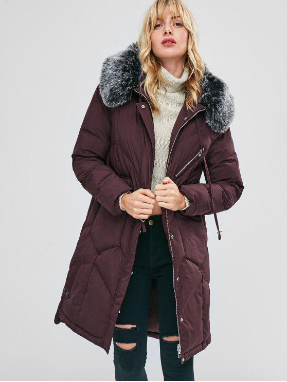 lady Faux Fur Hood Padded Parka Coat - RED WINE M